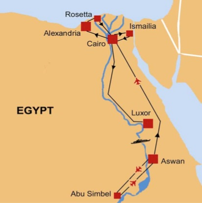 Map of ByRoads' Egypt Tour