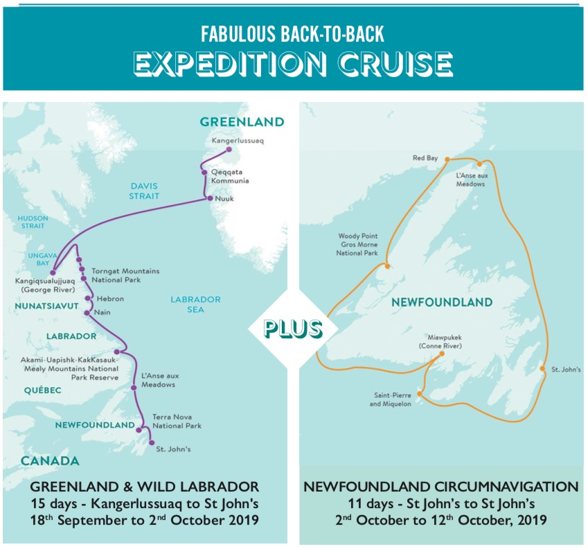 Map of Travel Masters' Back-to-Back Expedition Cruise