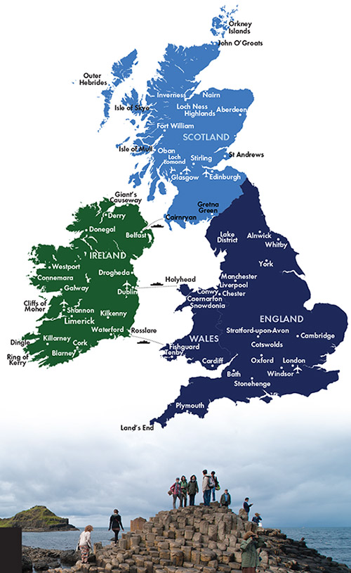 Map Of Ireland And England And Scotland.Ireland Britain Ireland Scotland England Wales By Cie Tours